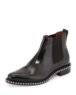 Stud-Sole Leather Chelsea Boot, Black