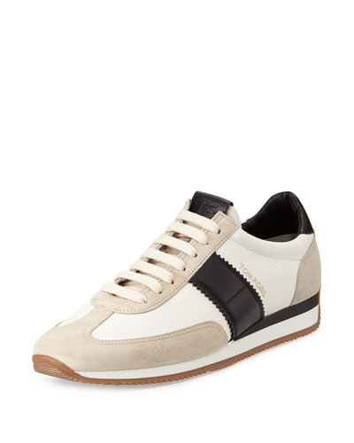 Canvas & Leather Low-Top Sneaker, Black/White
