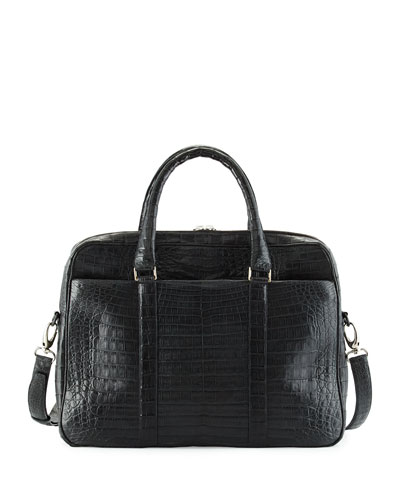 Double-Gusset Crocodile Brief Case, Charcoal