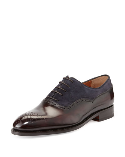 Incanto Mixed-Media Wing-Tip Oxford, Navy
