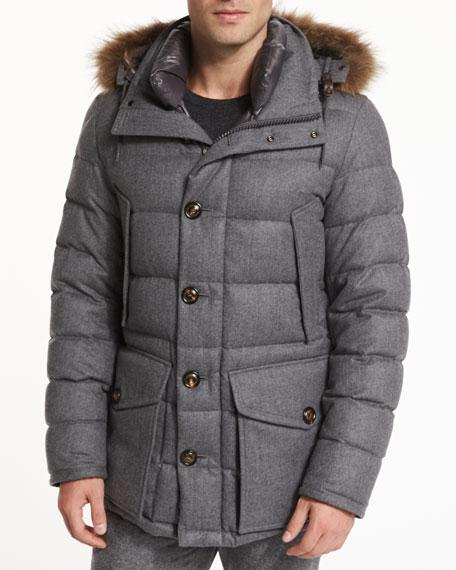Rethel Fur-Trimmed Wool Jacket, Medium Gray