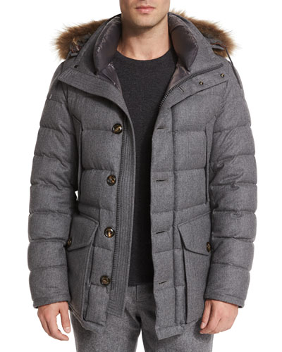 Rethel Fur-Trimmed Wool Jacket, Medium Gray