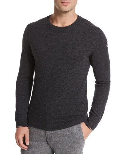 Crewneck Wool Pullover Sweater, Medium Gray
