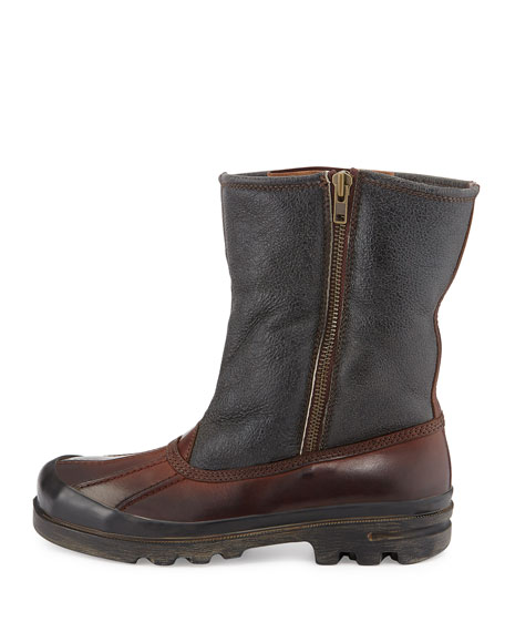 Fur-Lined Vachetta Leather Boot, Dark Brown