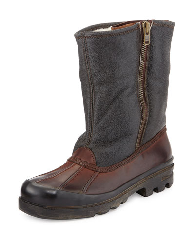 Fur-Lined Vachetta Leather Boot, Dark Brown