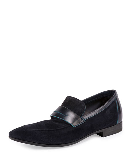 Suede Contrast-Edge Penny Loafer, Dark Blue