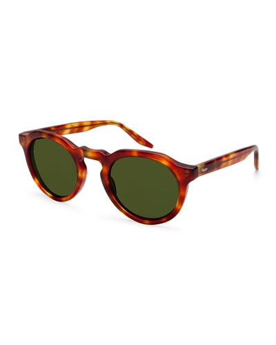 Ascot Havana Round Sunglasses, Light Brown