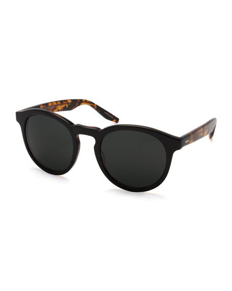 Image 1 of 1: Goodman Acetate Sunglasses, Black Amber Tortoise