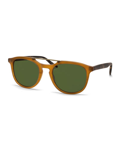 Rainey Round Top-Bar Sunglasses, Golden Honey