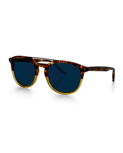 Rainey Round Top-Bar Sunglasses, Amber Tortoise