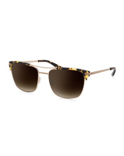 Wexler Navigator Acetate & Metal Sunglasses, Champagne