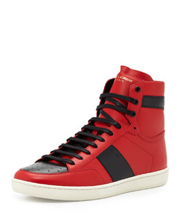 Men's Two-Tone Leather High-Top Sneaker, Black/Red