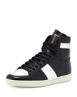 Men's Metallic-Trimmed Leather High-Top Sneaker, Black/Silver