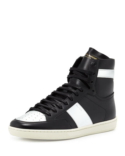 Men's Metallic-Trimmed Leather High-Top Sneaker, Black/Silver