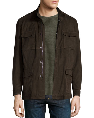 Suede Zip-Front Safari Jacket, Brown