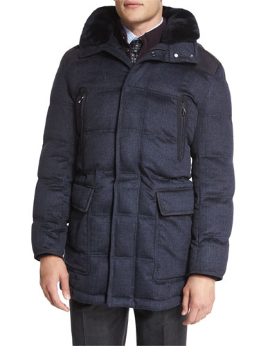 Fur-Trimmed Plaid Cashmere Parka Coat, Navy