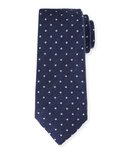 Polka-Dot Silk-Blend Tie, Navy