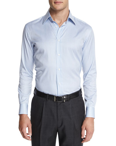 Striped Cotton Dress Shirt, Light Blue
