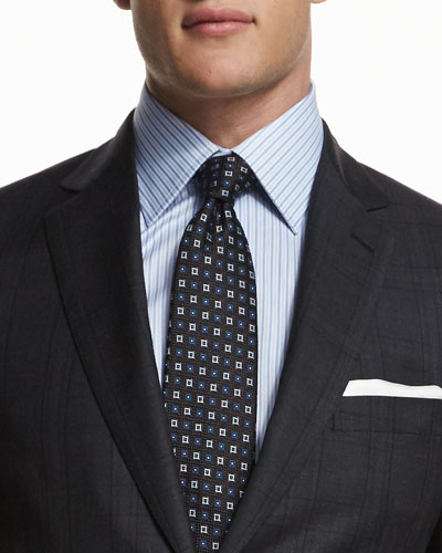 Small Box-Pattern Silk Tie, Navy