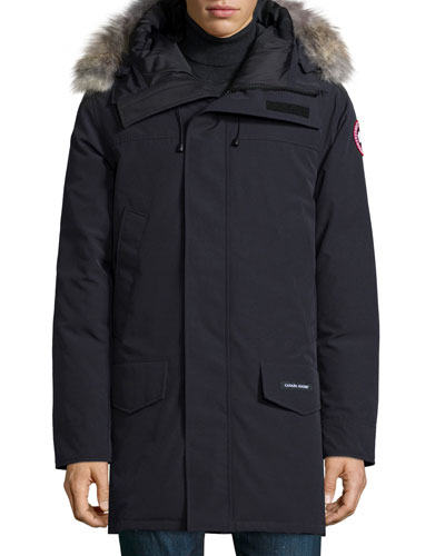 Langford Parka Coat with Fur-Trimmed Hood, Navy