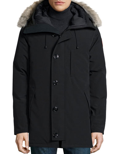 Chateau Parka Coat w/Fur Trimmed Hood, Black