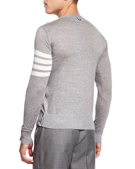 Merino Wool Crewneck Sweater, Light Gray