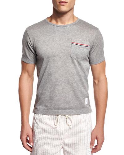 Short-Sleeve Pique-Knit Patch Pocket Tee, Light Gray