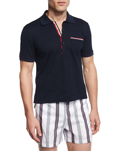 Tipped Pique-Knit Polo Shirt, Navy