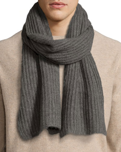 Ribbed Cashmere Scarf, Dark Gray