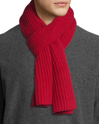 Ribbed Cashmere Scarf, Red