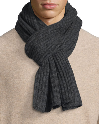 Ribbed Cashmere Scarf, Charcoal