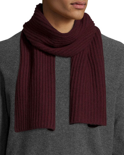 Ribbed Cashmere Scarf, Burgundy
