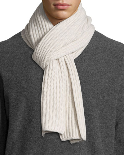 Ribbed Cashmere Scarf, Ivory