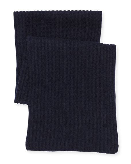 Ribbed Cashmere Scarf, Navy
