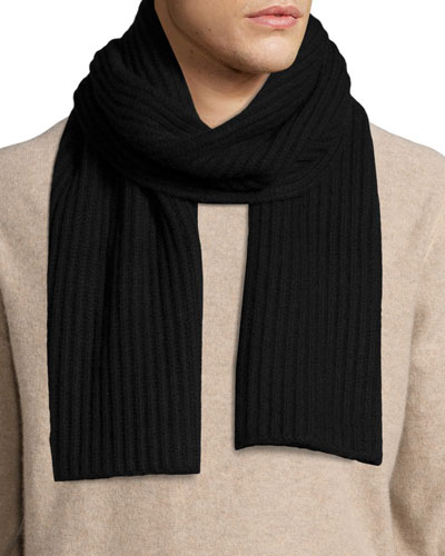 Ribbed Cashmere Scarf, Black