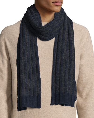 Bicolor Ribbed Cashmere Scarf, Navy