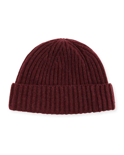Rib-Knit Cashmere Hat, Burgundy