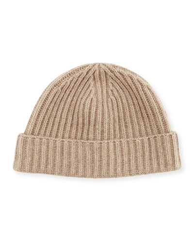 Rib-Knit Cashmere Hat, Brown