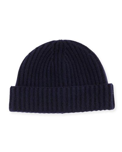 Rib-Knit Cashmere Hat, Navy