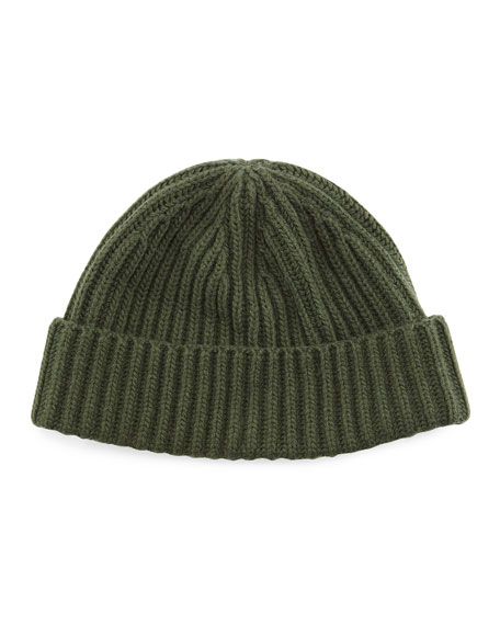 Ribbed Cashmere Beanie Hat, Olive