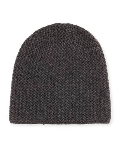 Knit Cashmere Beanie, Charcoal