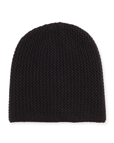 Knit Cashmere Beanie, Black