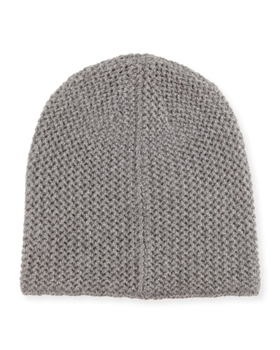 Knit Cashmere Beanie, Gray