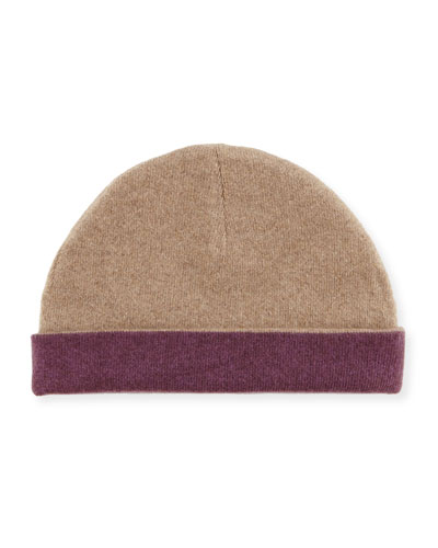 Reversible Cashmere Cuff Hat, Brown