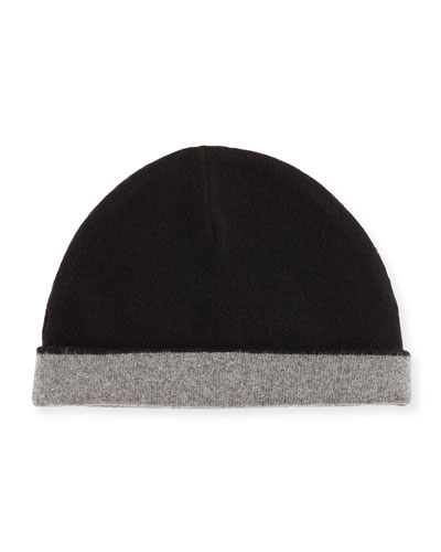 Reversible Cashmere Cuff Hat, Black
