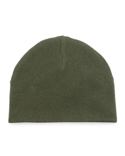 Reversible Cashmere Beanie Hat, Green