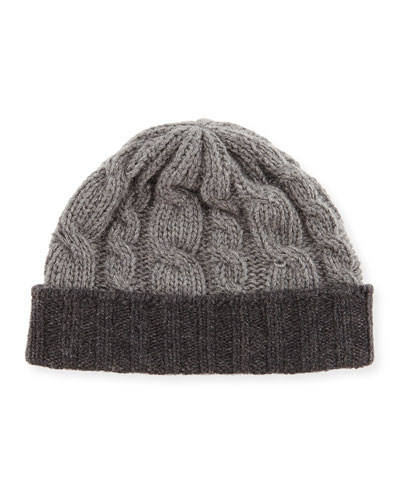 Cuffed Cable-Knit Cashmere Hat, Gray