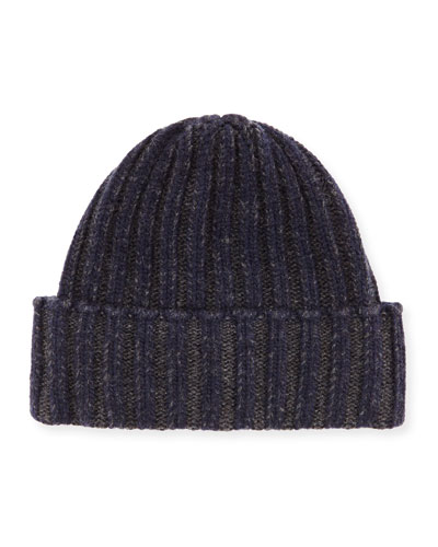 Wide-Rib Knit Cashmere Hat, Navy
