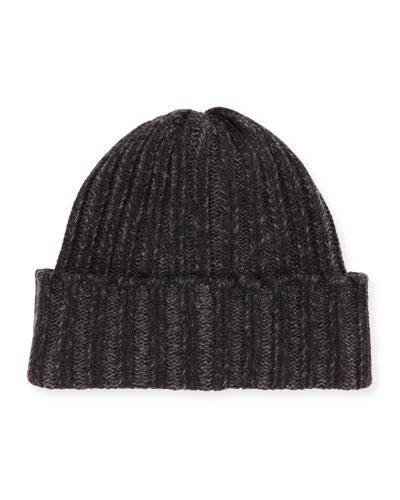 Wide-Rib Knit Cashmere Hat, Black