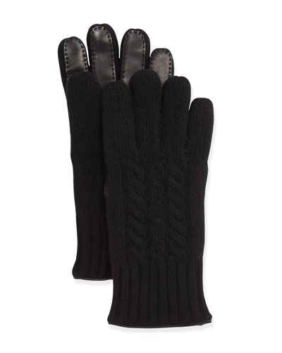 Cable-Knit Cashmere & Leather Gloves, Black